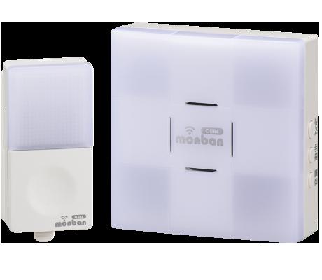 monban CUBE 押しボタン送信機+光フラッシュAC電源式受信機|OCH-SET23-BLUE 08-0523 オーム電機