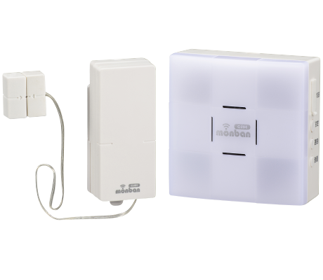 monban CUBE 扉センサー送信機+光フラッシュ電池式受信機|OCH-SET25-BLUE 08-0525 オーム電機