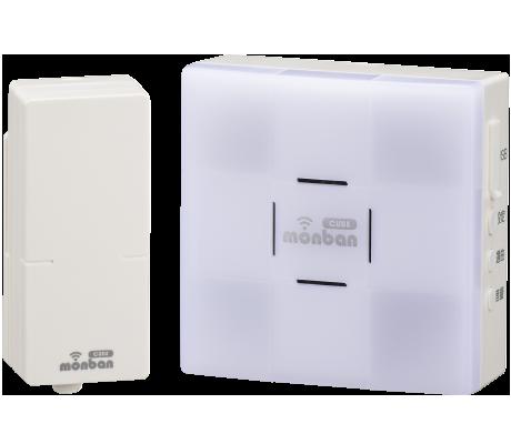 monban CUBE 音センサー送信機+光フラッシュ電池式受信機|OCH-SET26-BLUE 08-0526 オーム電機