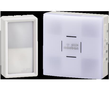 monban CUBE 防水押しボタン送信機+光フラッシュ電池式受信機|OCH-SET50-BLUE 08-0550 オーム電機