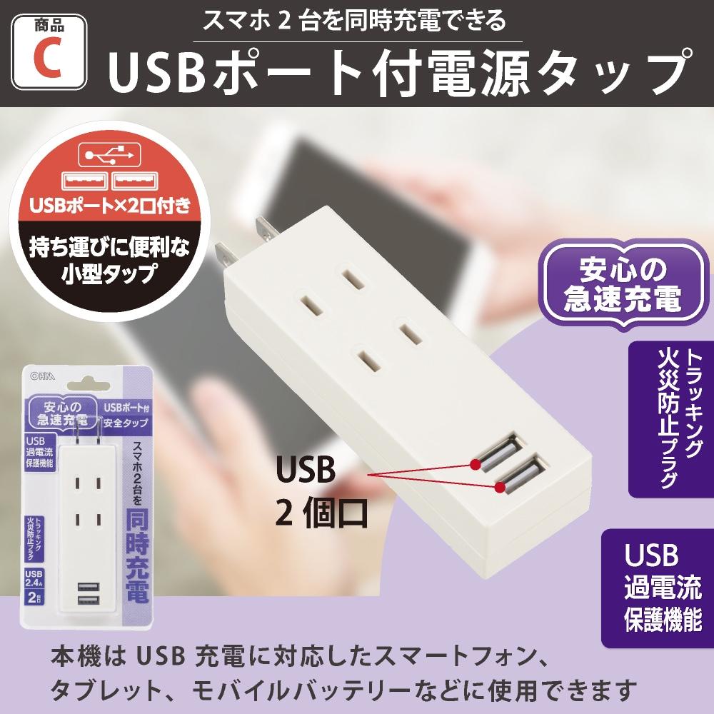 USBポート付電源タップ 2個口/2USB 白|HS-TU2SPC-W 00-4394