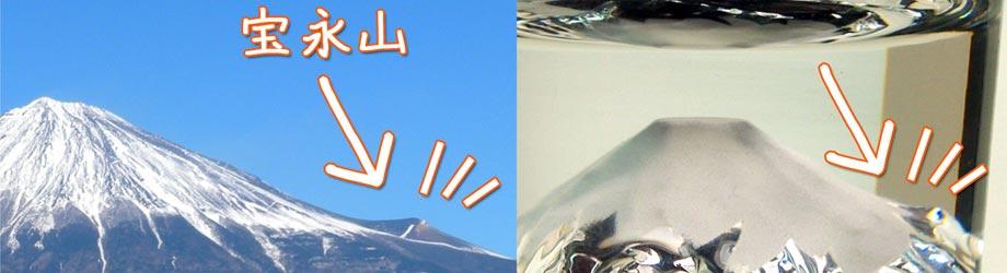 富士山グラスの中に再現された宝永山