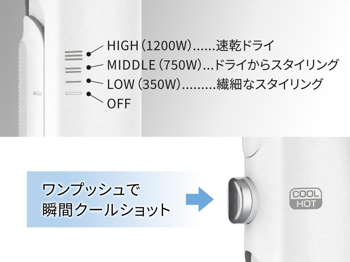 3段階の風速設定
