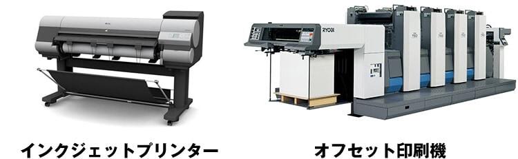 オフセット印刷機と大判インクジェットプリンター