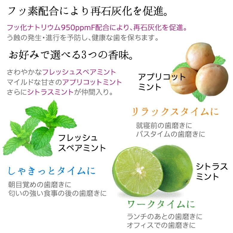 フッ素配合により再石灰化を促進。フレッシュスペアミントとアプリコットミントの2つの香味。