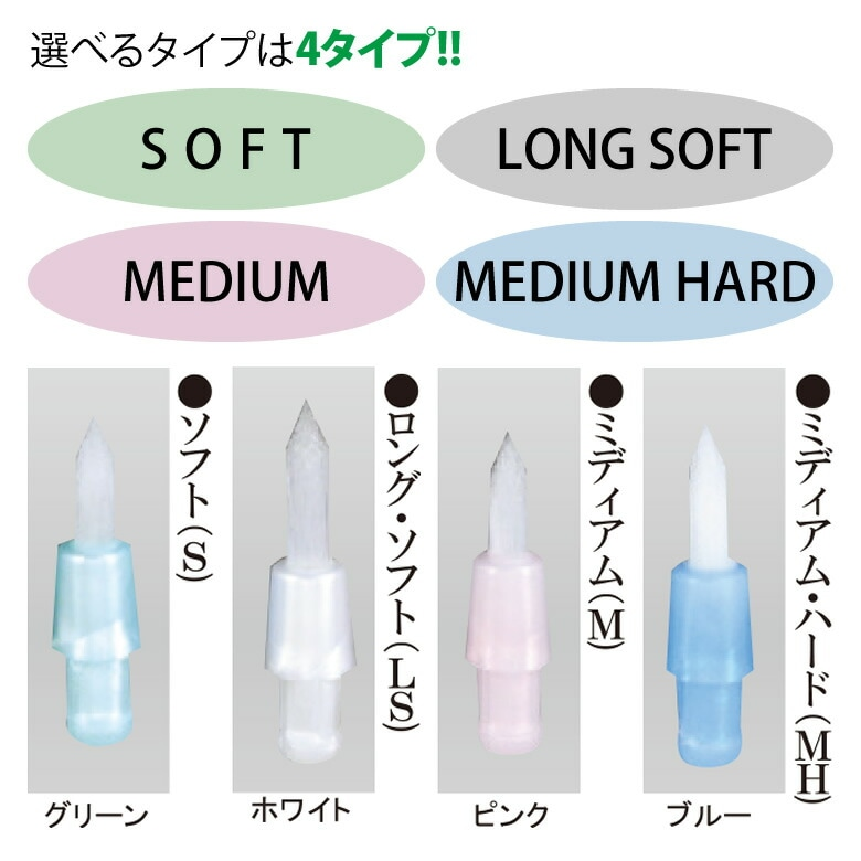 選べるタイプは4タイプ!(SOFT、LONG SOFT、MEDIUM、MEDIUM HARD)