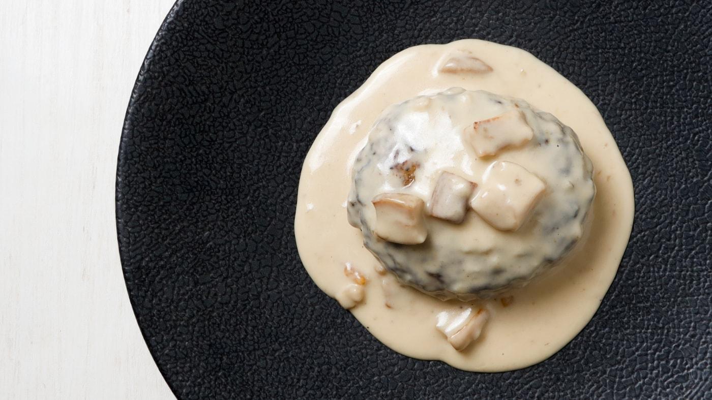 ポルチーニ茸のクリームソースハンバーグ
