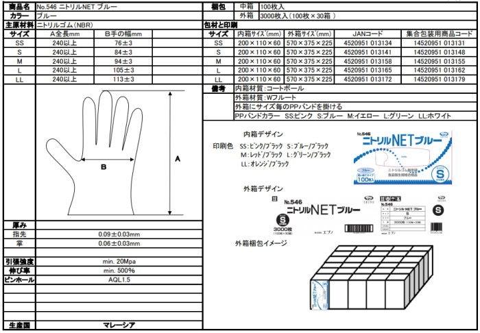 ニトリル手袋のサイズ