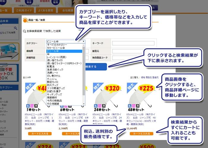 (検索結果)カテゴリーを選択したり、キーワード、価格帯などを入力して商品を探すことができます。(カテゴリーのあたり)カテゴリーを選択したり、任意の値を入れてください。(検索する)クリックすると検索結果が下に表示されます。(画像のあたり)画像をクリックすると商品詳細ページに移動します。(価格のあたり)税込、送料別の販売価格です。(カートボタン)。検索結果からすぐにカートに入れることも可能です。