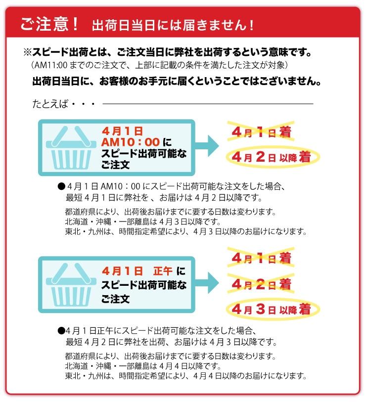 ご注意!出荷日当日に、お客様のお手元に届くということではございません。※スピード出荷とは、ご注文当日に弊社を出荷するという意味です。出荷日当日には届きません!(AM11:00までのご注文で、上部に記載の条件を満たした注文が対象)