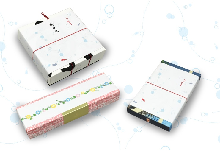 デザインのし、掛け紙をかけたイメージ:ご指定が内場合は、商品に直接掛ける外のしになります