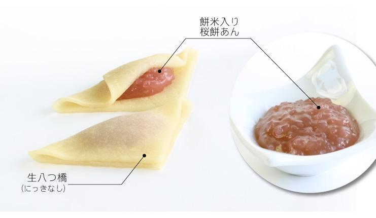 はるおたべ 桜餅風味あん入り生八つ橋 おたべ:餅米入りの桜餅あんと、国産コシヒカリを使用した生八つ橋