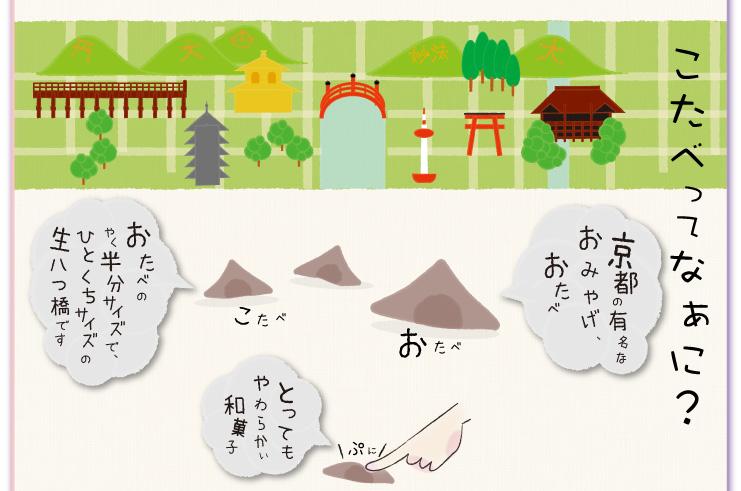 WEB限定発売★りかりこたべ:こたべってなぁに?京都の有名なおみやげ、おたべ おたべのやく半分サイズで、ひとくちサイズの生八つ橋です。とつてもやわらかい和菓子