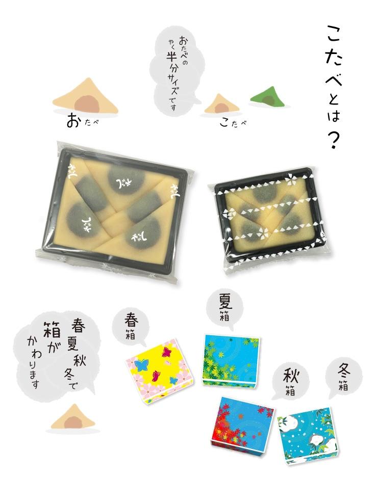 秋限定 こたべ あき:ちいさいから「こたべ」、おたべの子供だから「こたべ」。ふた口サイズのいつものおたべを、ひとくちサイズにちいさくかわいく仕上げました。季節、色とりどりの、ちいさな彩り箱で、かわいい京都を、おすそわけ。春夏秋冬でパッケージデザインが異なります。