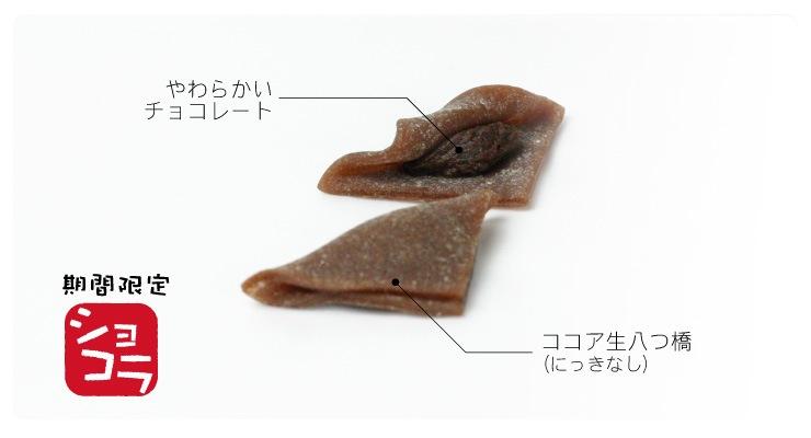 期間限定 こたべ ショコラ :にっきなし ココアの生八つ橋にやわらかいチョコレートのこたべつばきデザインのパッケージ