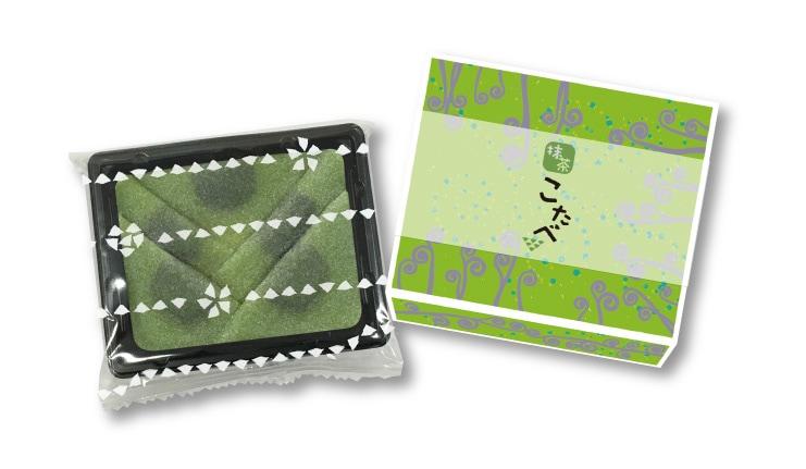 春限定 こたべ 抹茶:にっきなしの抹茶生八つ橋につぶあんのこたべ わらびデザインのパッケージ