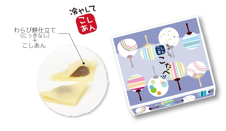 夏限定 こたべ なつ:にっきなしのわらび餅仕立てこしあんのこたべ うちわデザインのパッケージ