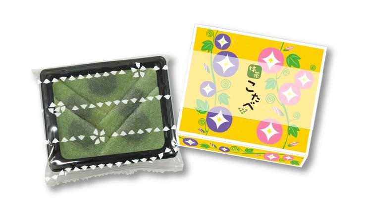 夏限定 こたべ 抹茶:にっきなしの抹茶生八つ橋につぶあんのこたべ 朝顔デザインのパッケージ