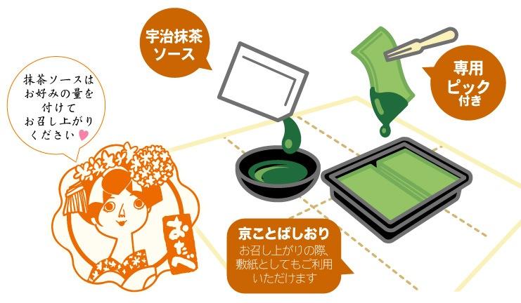 宇治抹茶 生八つ橋フォンデュ:抹茶ソースはお好みの量を付けてお召し上がりください。
