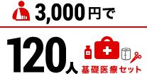 3000円で基礎医療セット120人分