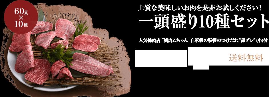 上質な美味しいお肉を是非お試しください!一頭盛り10種セット(人気焼肉店「焼肉乙ちゃん」自家製の特製のつけだれ�黒ダレ�(小)付) 送料無料5,054円