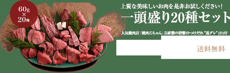 上質な美味しいお肉を是非お試しください!一頭盛り20種セット(人気焼肉店「焼肉乙ちゃん」自家製の特製のつけだれ�黒ダレ�(小)付) 送料無料9,720円