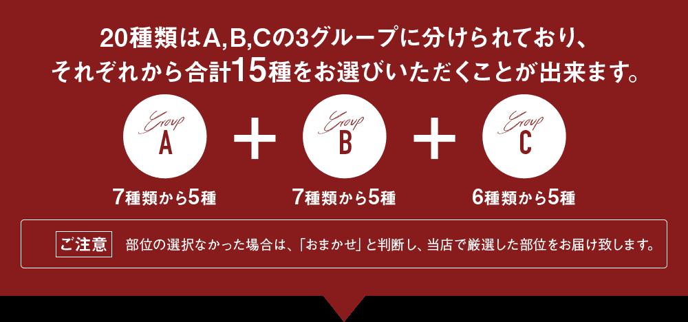 20種類はA,B,Cの3グループに分けられており、それぞれから合計10種をお選びいただくことが出来ます。