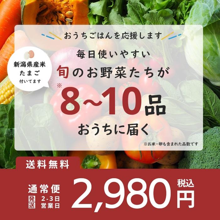ピカリ産直お冨さん 野菜セット お米 卵付き 全8〜10品 2,980円 送料込み!