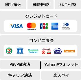 銀行振込、郵便振替、代金引換、クレジットカード、コンビニ決済、Paypal決済、Yahoo!ウォレット、キャリア決済、楽天ペイ