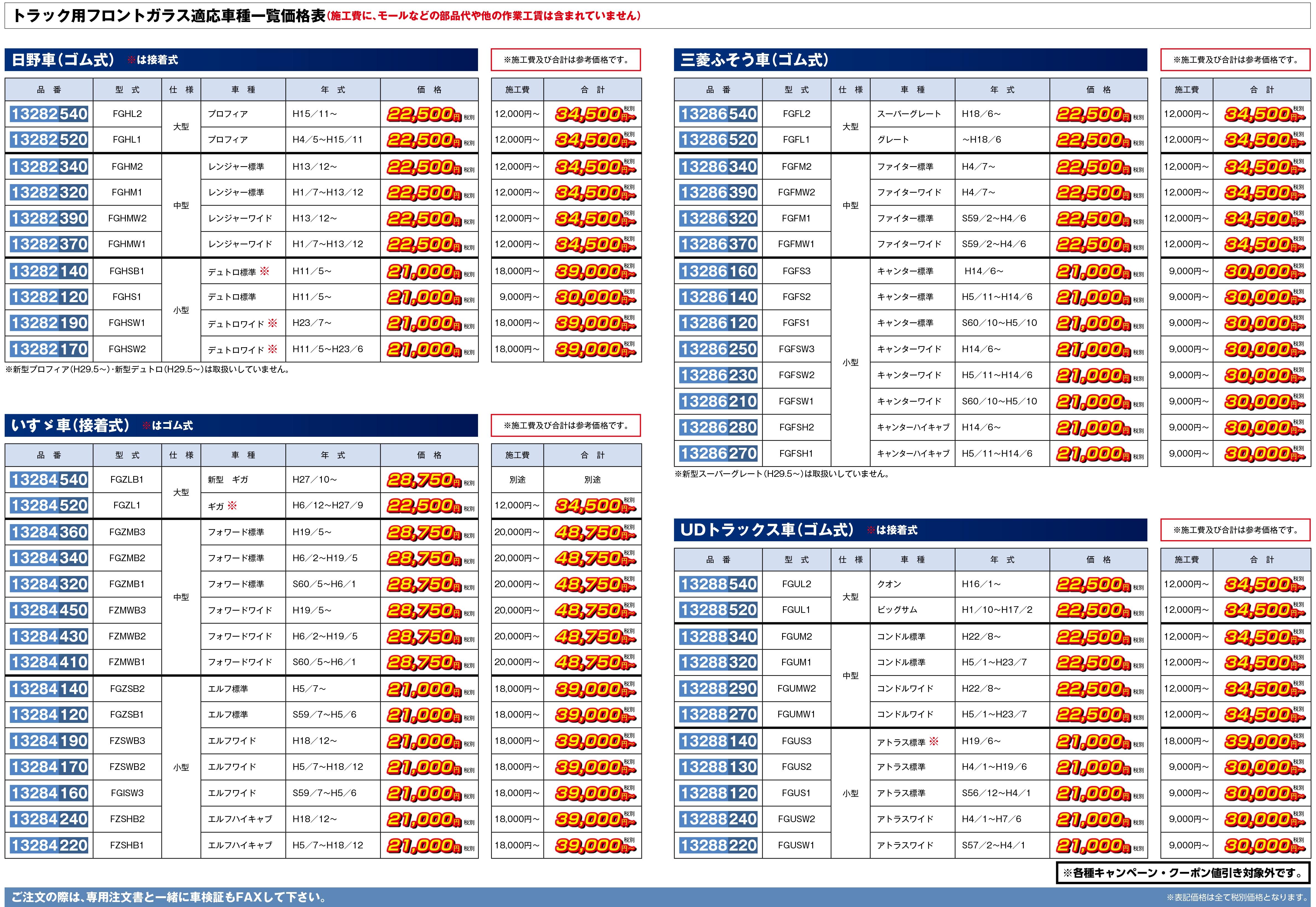 適応車種一覧価格表