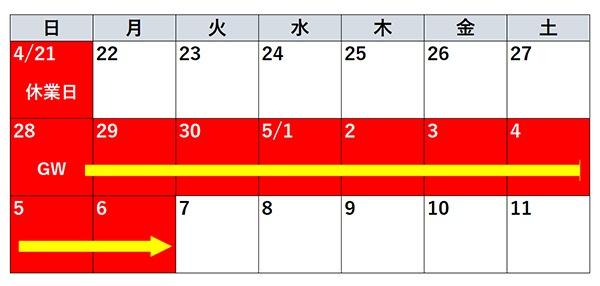 ゴールデンウイーク休業カレンダー