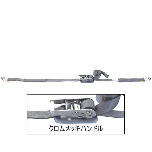 ベルト荷締機 Jフック(巾50mm クロムメッキ 固定1m 巻取5m)