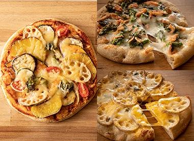 野菜たっぷり3種類のピザセット