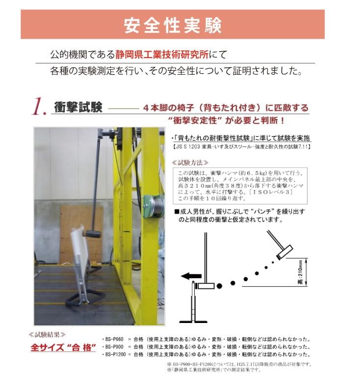 安全性実験 公的機関である静岡県工業技術研究所にて各種の実験測定を行い、その安全性について証明されました