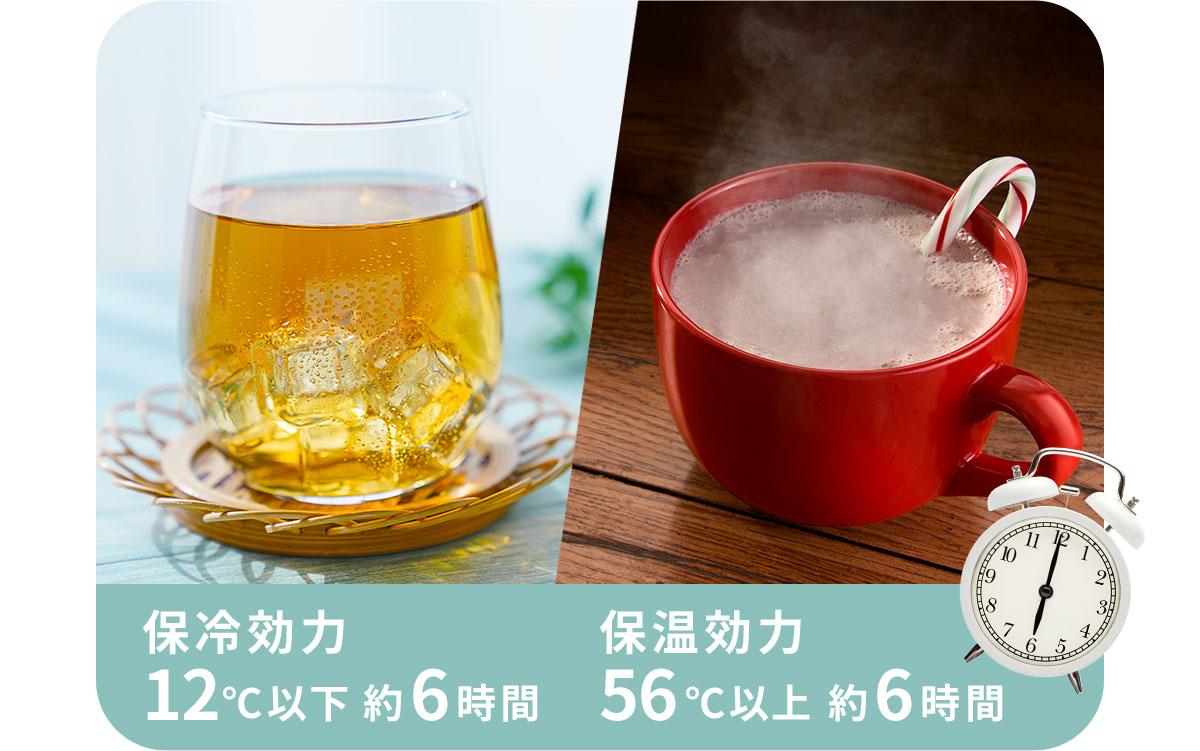 保冷効力12℃以下約6時間、保温効力56℃以上約6時間