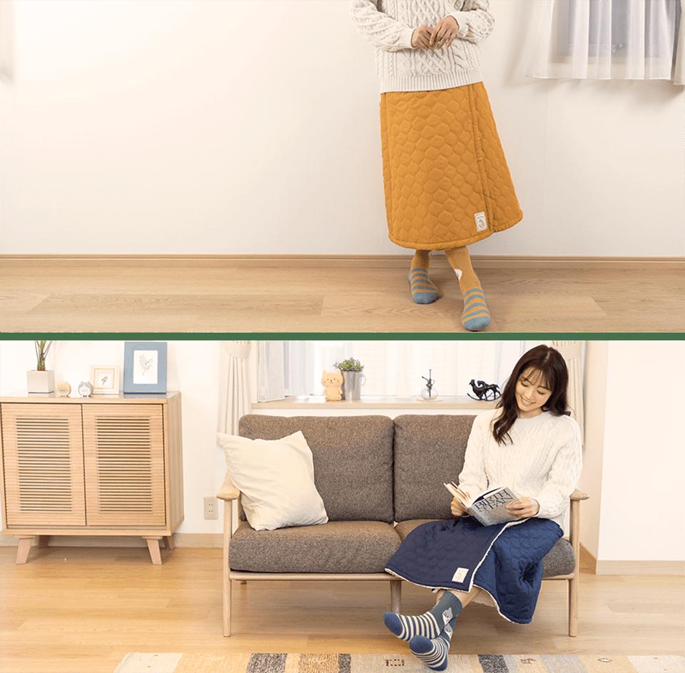 中綿キルトスカート。室内でも屋外でも活躍する2WAY キルトスカート。キルティングもかわいいおすすめスカート。