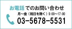 お電話でのお問い合わせ 月〜金(祝日を除く)9:00〜17:00 03-5678-5531