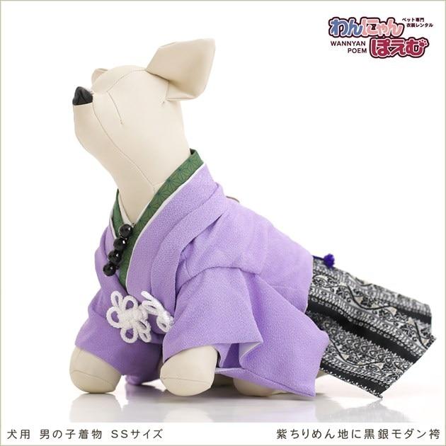 小型犬 dss-005 紫ちりめん地に黒銀モダン袴