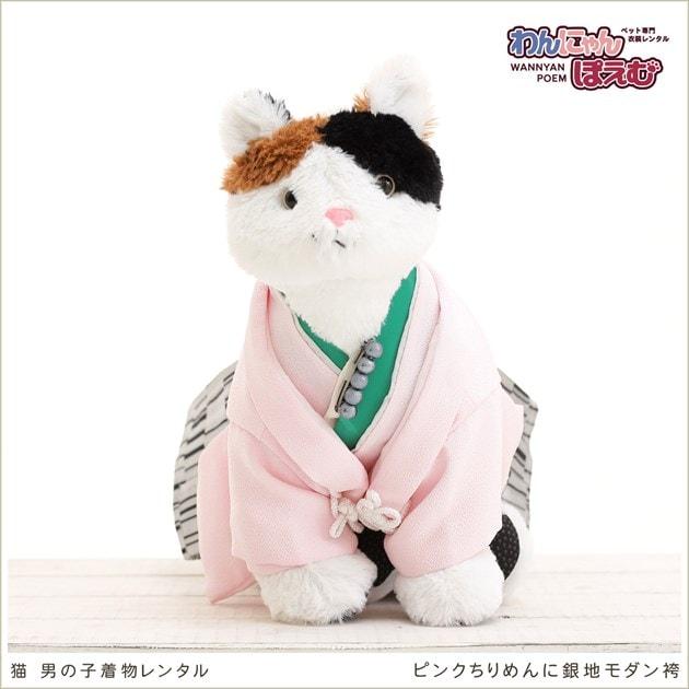 猫 cds-007 ピンクちりめんに銀地モダン袴
