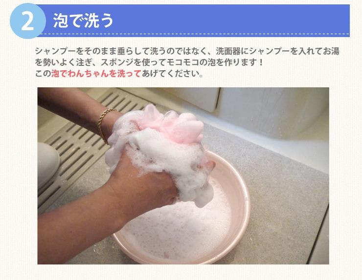 2. 泡で洗う