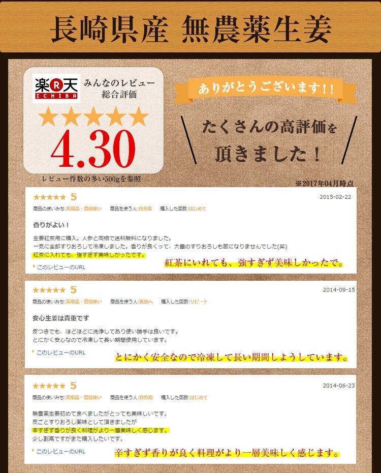 長崎県産無農薬生姜たくさんの高評価を頂きました!