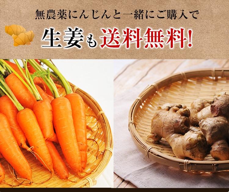 古根生姜 無農薬にんじんと一緒にご購入で生姜も送料無料!
