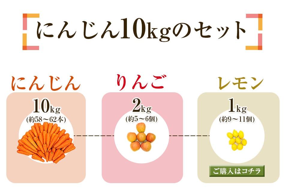 にんじん10kg+りんご2kg+レモン1kg