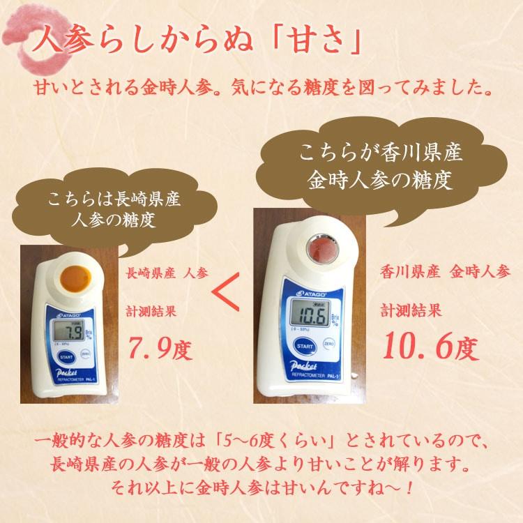一般的な人参の糖度は「5〜6度くらい」とされているので、長崎県産の人参が一般の人参より甘いことが解ります。それ以上に金時人参は甘いんですね!