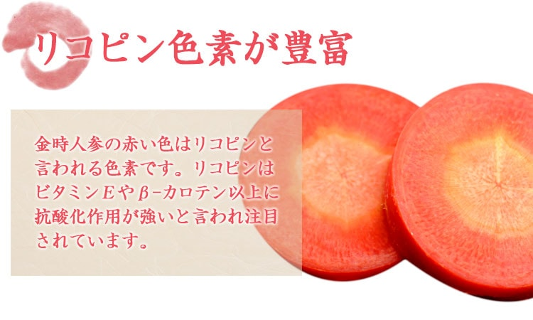 金時人参の赤い色はリコピンと言われる色素です。リコピンはビタミンEやβ-カロテン以上に抗酸化作用が強いと言われ注目されています。