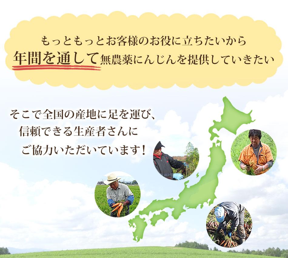 もっともっとお客様のお役に立ちたいから年間を通じて無農薬にんじんを提供していきたい。そこで全国の産地に足を運び、信頼できる生産者さんにご協力いただています!