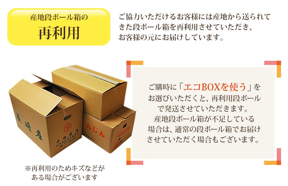 ご購入時に「エコBOXを使う」をお選びいただくと、再利用段ボールで発送させていただきます。産地段ボール箱が不足している場合は、通常の段ボールでお届けさせていただく場合もございます。