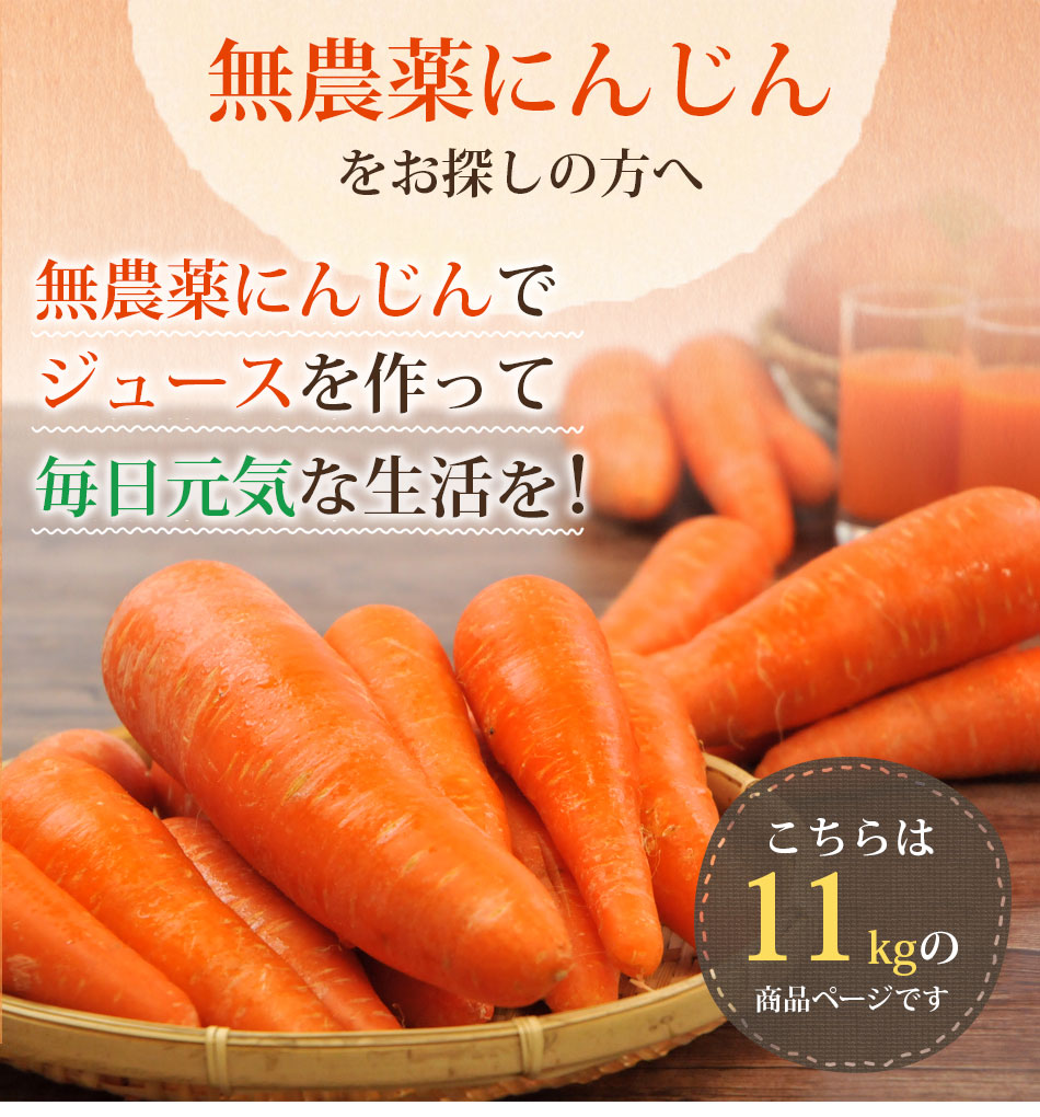 無農薬にんじんをお探しの方へ無農薬にんじんでジュースを作って毎日元気な生活を!こちらは11kgの商品ページです