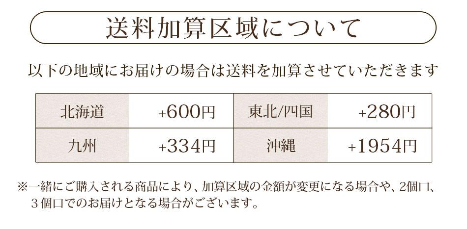 送料加算区域について以下の地域にお届けの場合は送料を加算させていいただきます。北海道・東北・四国・九州・沖縄