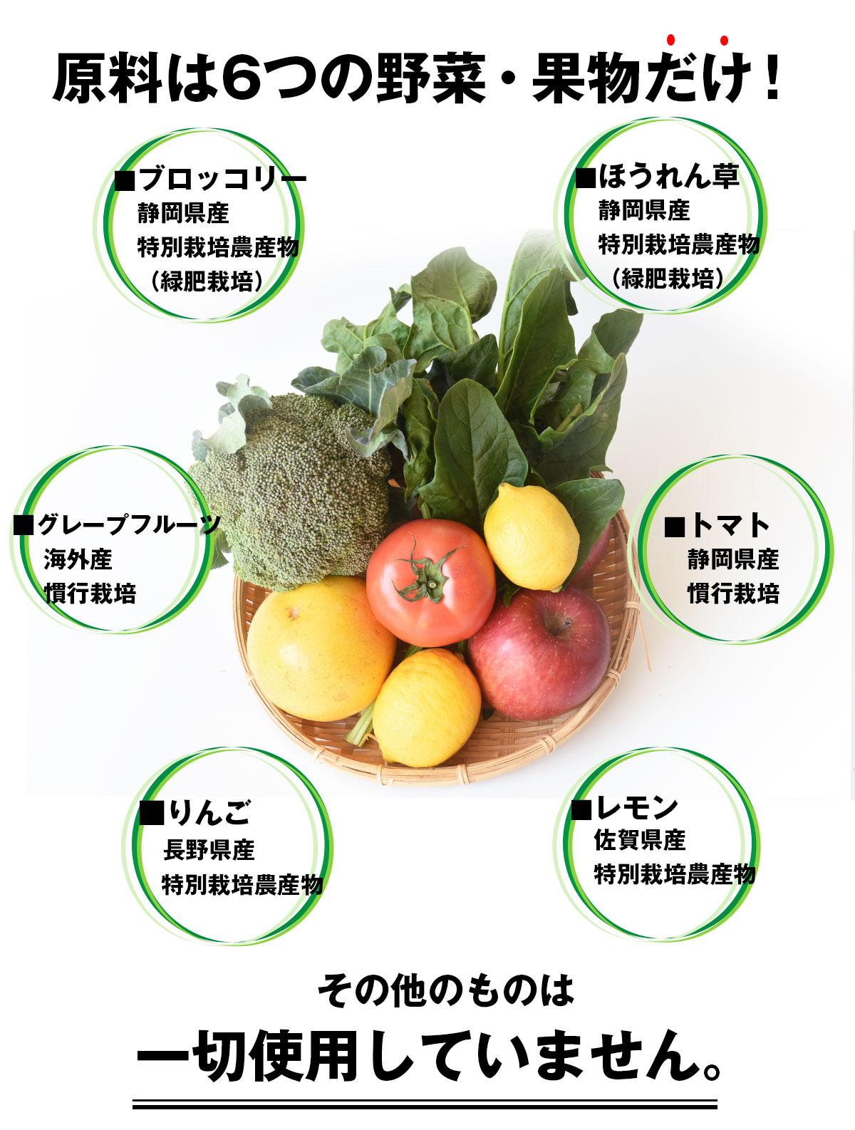 原料は6つの野菜・果物だけ